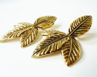 Vintage Gold Leaf Earrings 1970s Mod Design