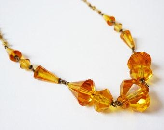 Vintage Czech Topaz Crystal Necklace Art Deco