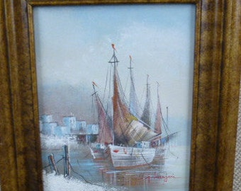 "G. Mangeri ""Harbor"" Oil Painting * MAKE OFFER *"
