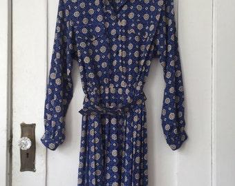 Women's Size 14P - Vintage 80s Pleated Shirt Waist Dress - Leslie Fay Dresses Petite
