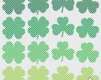 Polkadot Shamrock Clipart, St. Patty's Day Clipart, St. Patrick's Day, Clover Clipart, four Leaf, 4 leaf clover, Small Commercial Use, PNG