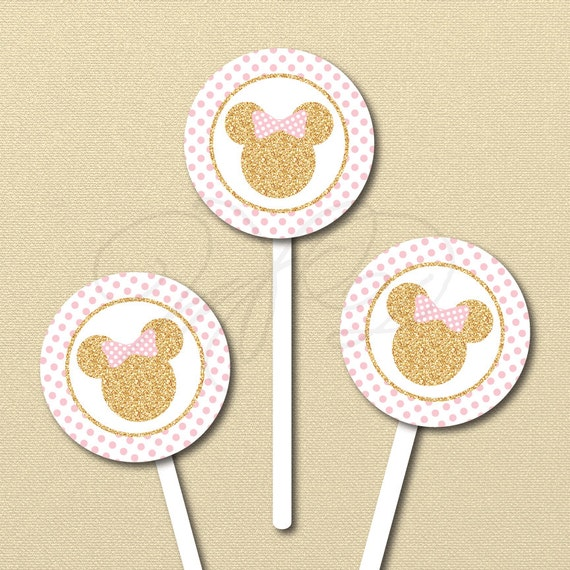 Minnie Mouse Printables Pink And Gold Minnie Cupcake Topper