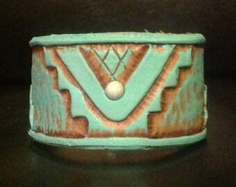 Hand Tooled Santa Fe Leather Cuff