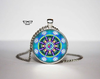 Dharma Wheel Necklace, Buddhist pendant, Sacred Geometry necklace, Gift Idea for Her, for Him