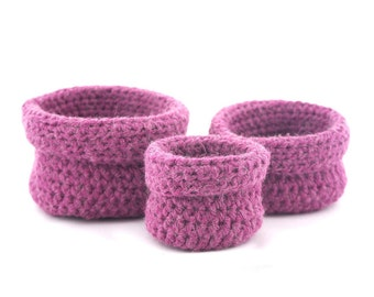 Set of three nesting baskets made crochet Bisofa - Pink - Pink Paners in wool