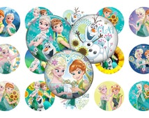 Frozen Fever Bottle cap images, Digital 1 inch circle Hairbow Scrapbooking, PDF, JPG