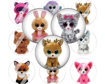 Beanie Boos 1 inch digital bottle cap images, 30 Images Perfect for Hairbows, scrapbooking, cabochon, jewelry, magnets, buttons