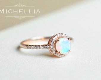 14K/18K Opal Engagement Ring with Halo Diamond, Solid Gold Ethiopian Fire Opal Promise Ring, Rose Gold Yellow Gold White Gold, Natural Opal