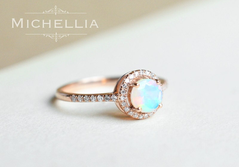 14k 18k Opal Engagement Ring With Halo Diamond Solid Gold