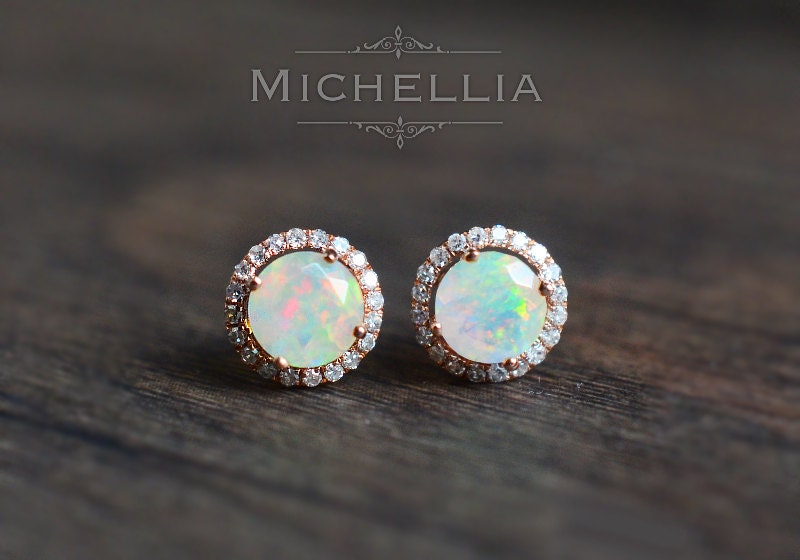 14k 18k Gold Opal Earrings With Halo Diamond Solid Gold
