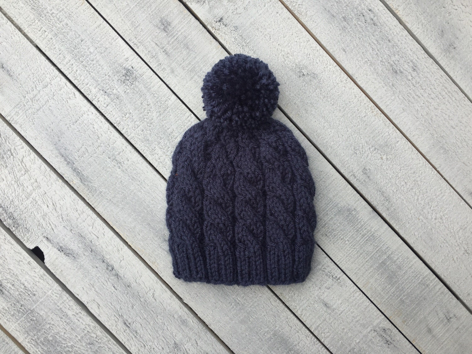 46bdf4ac59f Blue Cable Baby Hat