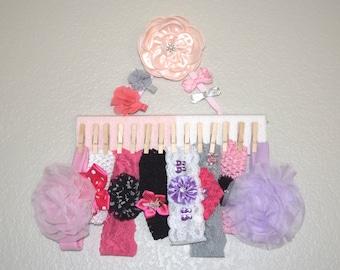 Headband Holder, Bow Holder, Baby Headband Organizer, Girls Bow organizer, Headband Hanger, Yarn Wrapped, Hair Clip Holder, Headband Hanger