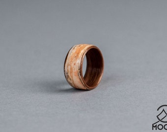 Birch Bark and American Walnut Bentwood Ring - Handmade Wood Ring - Men's Wooden Ring - Women's Wooden Ring - Wedding - Engagement