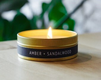 4oz Amber + Sandalwood Gold Travel Tin Scented Soy Candle