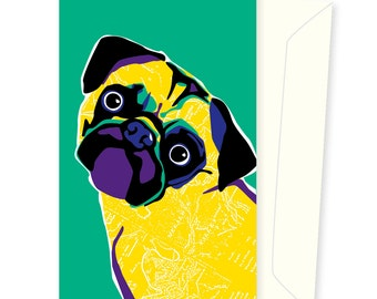Badger the Pug greeting card