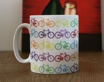 Coffee/Tea Mug With Bicycle Print. Bicycle print Coffee Mug, Coffee Mug Bicycle Print, Bicycle Print, Bike Print Coffee Mug, Bicycles..