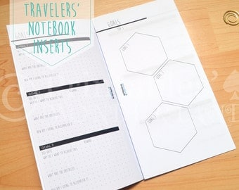 TN goal tracker inserts printable - Travelers' notebook inserts instant download