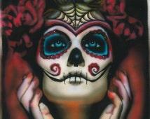 Sugar Skull Art, Signed Skull Print, Dia De Los Muertos Decor, Day of the Dead Painting