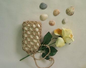 hemp soap saver bag, hemp 100% natural soap bag, crocheted soap bag, exfoliant bag