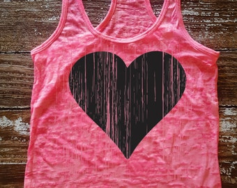 Lucky Heart - A-line burnout workout tank.  Sizes S-XL