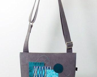 Bag Stella, alcantara bag, handbag, wallet black, light grey, emerald green, turquoise, shoulder strap, single coin pouch