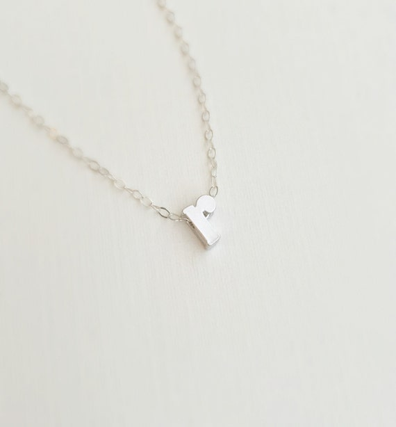 Initial r necklace letter r necklace by littlecharmingstudio for Lowercase letter necklace