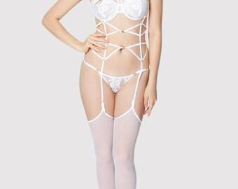 Jacqueline 8044 White Run-resistant Stockings, Bridal Lingerie, Hosiery | by VIPA