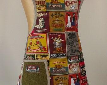 Retro apron, womans full apron, coffee apron, cafe apron, funky apron, Brown, Dark Green, Red, Black, Taupe, Vintage apron, Handmade apron