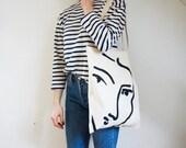 The Nadia tote bag - Matisse hand painted organic cotton tote bag