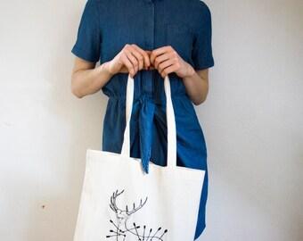The Frida tote bag - hand embroidered organic cotton tote bag
