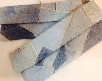 Denim patchwork clutch purse