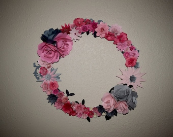 Pink and Gray Paper Flower Wreath