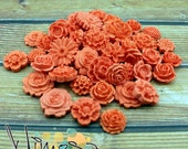Coral Cabochon flowers, Scrapbooking embellishments, Card making, Invitations