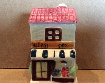 Salt and Pepper Shakers Village Shop Antique Salt and Pepper Shakers Hand Painted Stackable Salt and Pepper Shakers