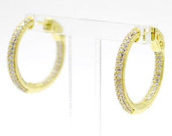 ZDE5001 Sterling Silver 925 Gold Plated Double Row CZ Small Hoops Earrings