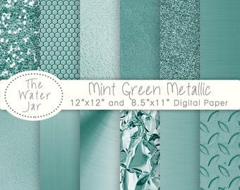 Mint Green Metallic Textured digital papers, Commercial Use, Mint Green Glitter, sequins, brushed metal, Mint foil, Green textures.
