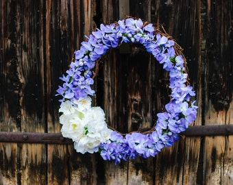 Floral Grapevine Spring & Summer Wreath in Purple-front door wreath, purple and white flowers