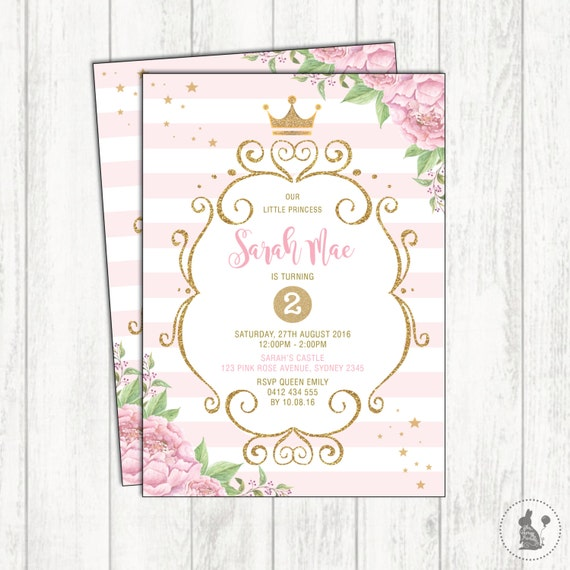 Princess birthday invitation pink and gold party invite royal il570xn filmwisefo