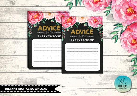 baby shower advice card for parents to be. instant download, Baby shower invitation