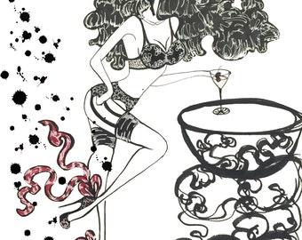 Pinup Fashion Illustration Lingerie Lover Gal