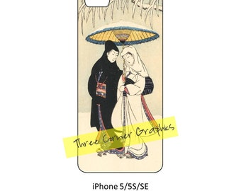 iPhone 5 printable cuttable case design Japanese romantic woodblock print by Harunobu, DIY at home iPhone accessories for 5, 5S, or SE