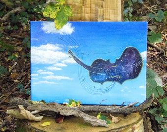 Violin modern painting French art original ! gift for musicians and music lovers