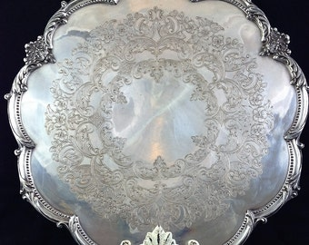Vintage Silver Plate Scalloped Footed Serving Tray