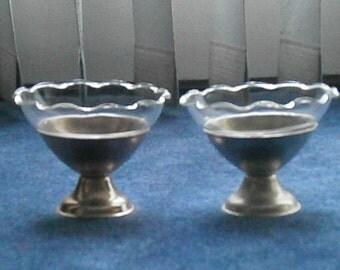 Set of Two  Aluminum Ice Cream Holders
