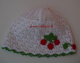 READY TO SHIP Crochet baby hat with decor, toddler hat, summer hat, decorated girl hat