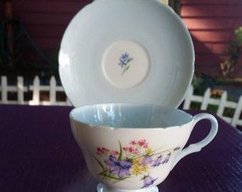 Vintage Blue Shelly English China Teacup