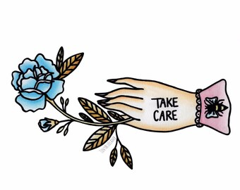 """Take Care Flower In Hand 8""""x8"""" Print"""