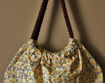 Rope handbag, orange/yellow/grey floral, FREE SHIPPING!
