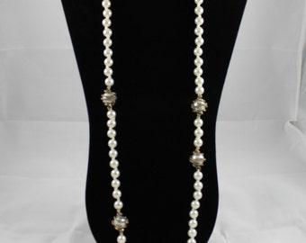 Long Pearl Vintage Necklace, Pearl Necklace, Vintage Necklace