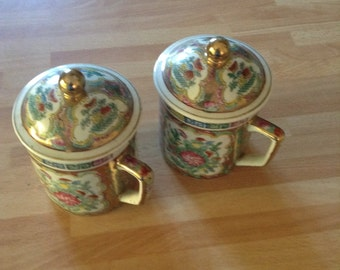 Chinese mugs with lids - vintage 70's 80's.Home decor. Collectors pieces.